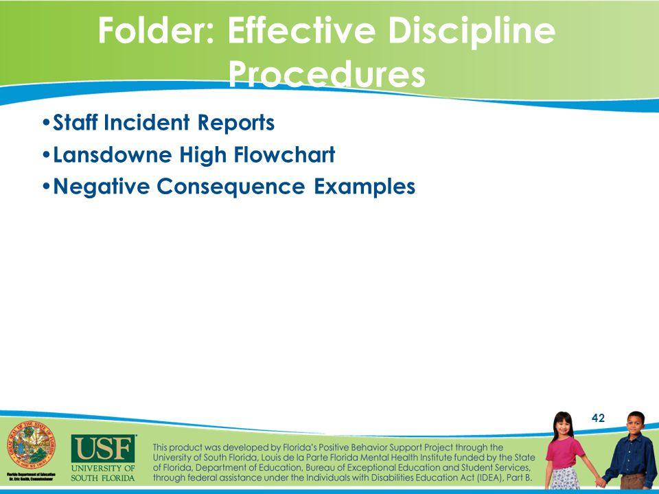 42 Folder: Effective Discipline Procedures Staff Incident Reports Lansdowne High Flowchart Negative Consequence Examples