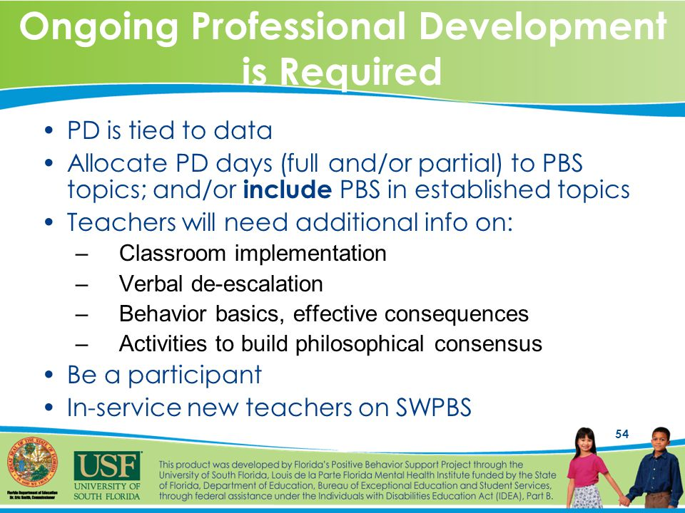 54 Ongoing Professional Development is Required PD is tied to data Allocate PD days (full and/or partial) to PBS topics; and/or include PBS in established topics Teachers will need additional info on: –Classroom implementation –Verbal de-escalation –Behavior basics, effective consequences –Activities to build philosophical consensus Be a participant In-service new teachers on SWPBS