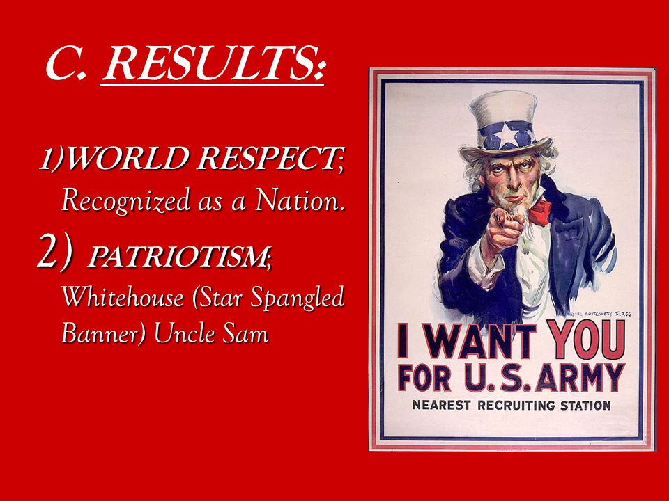 C. RESULTS: 1)WORLD RESPECT ; Recognized as a Nation.