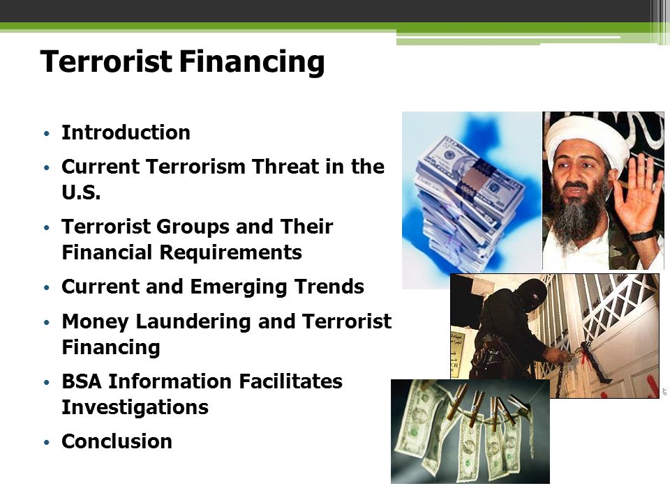 Terrorist Financing Introduction Current Terrorism Threat in the U.S. Terrorist Groups and Their Financial Requirements Current and Emerging Trends Mo