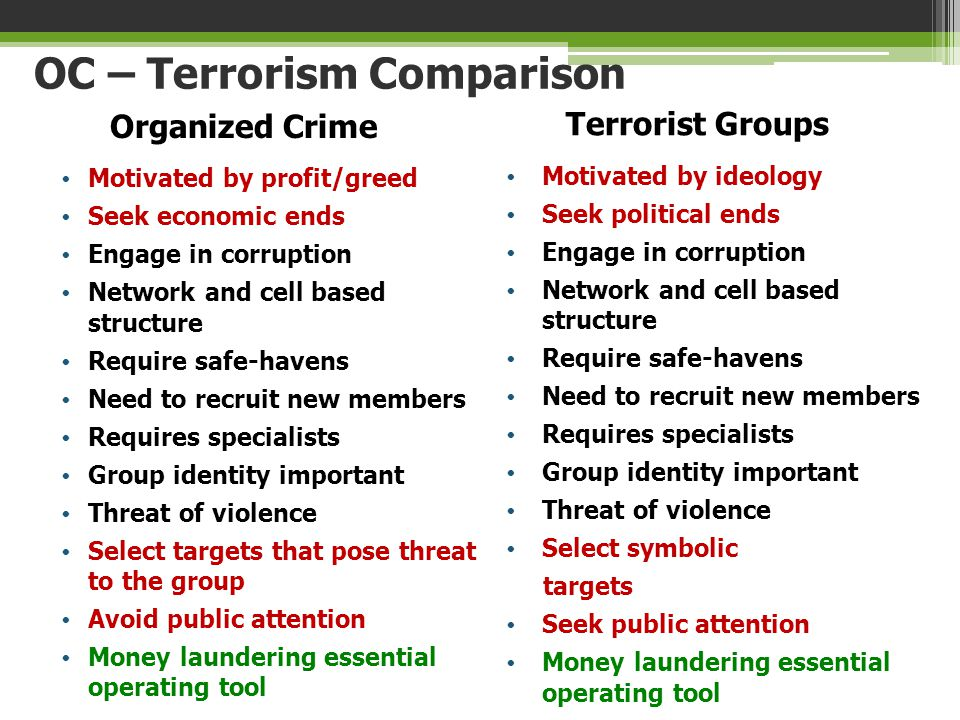 OC – Terrorism Comparison Organized Crime Motivated by profit/greed Seek economic ends Engage in corruption Network and cell based structure Require s