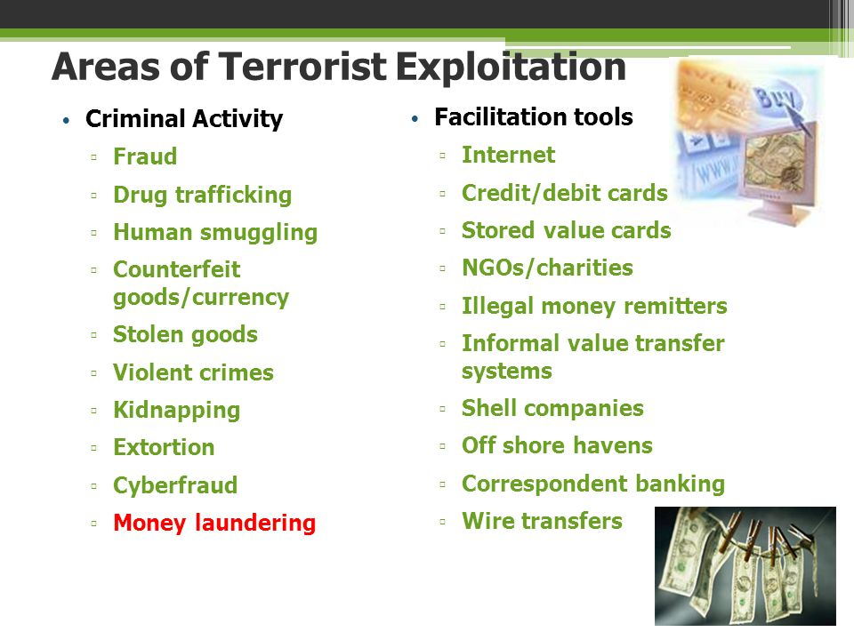 Areas of Terrorist Exploitation Criminal Activity ▫ Fraud ▫ Drug trafficking ▫ Human smuggling ▫ Counterfeit goods/currency ▫ Stolen goods ▫ Violent c
