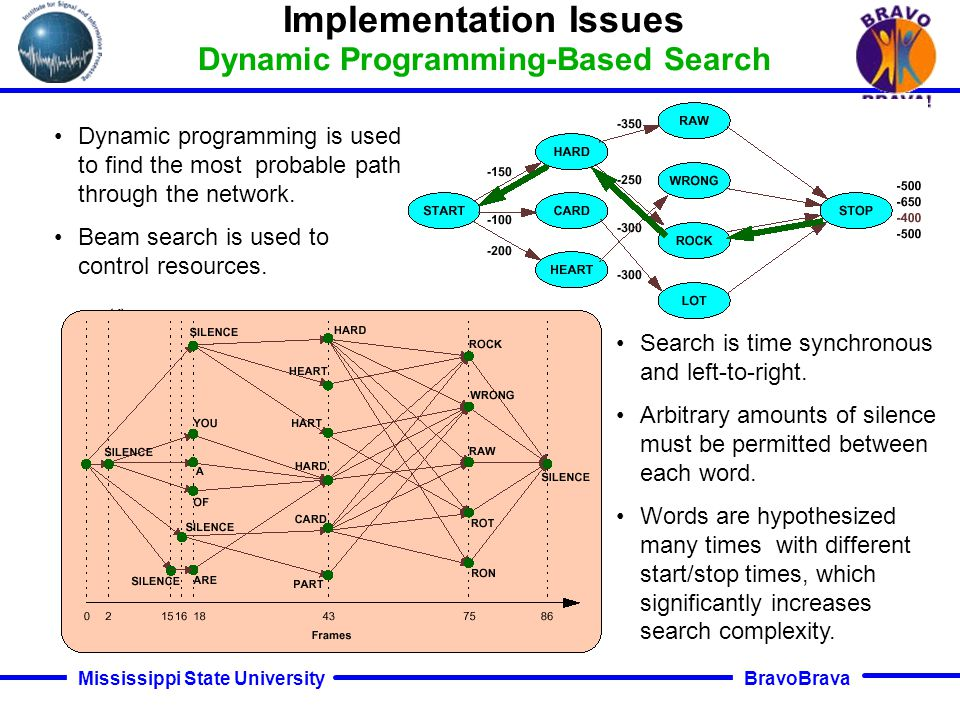 BravoBrava Mississippi State University Typical LVCSR systems have about 10M free parameters, which makes training a challenge. Large speech databases