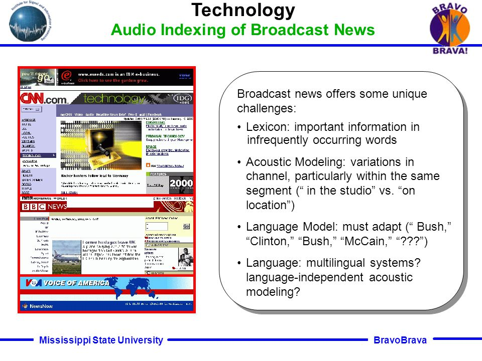 BravoBrava Mississippi State University Technology Conversational Speech Conversational speech collected over the telephone contains background noise, music, fluctuations in the speech rate, laughter, partial words, hesitations, mouth noises, etc.