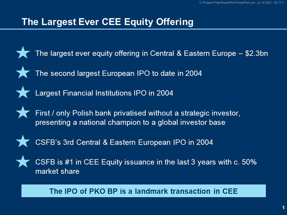 1 C:\Program Files\PowerPitch\PowerPitch.pot - Jul 19 2002 - 09:13 /1 The largest ever equity offering in Central & Eastern Europe – $2.3bn The second largest European IPO to date in 2004 Largest Financial Institutions IPO in 2004 First / only Polish bank privatised without a strategic investor, presenting a national champion to a global investor base CSFB's 3rd Central & Eastern European IPO in 2004 CSFB is #1 in CEE Equity issuance in the last 3 years with c.