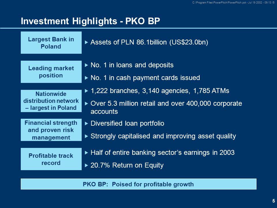 5 C:\Program Files\PowerPitch\PowerPitch.pot - Jul 19 2002 - 09:13 /5 Investment Highlights - PKO BP Largest Bank in Poland Leading market position Profitable track record  Assets of PLN 86.1billion (US$23.0bn)  No.