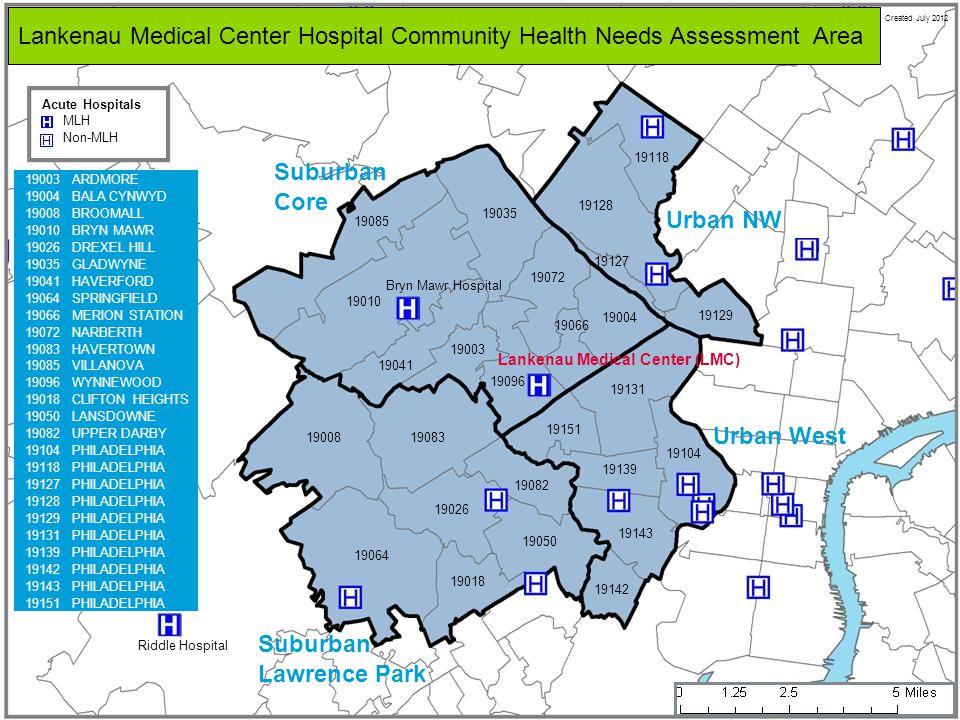 MLH Non-MLH Acute Hospitals Lankenau Medical Center Hospital Community Health Needs Assessment Area Created July 2012 19008 19064 19026 19018 19050 19083 19082 19151 19131 19139 19104 19143 19142 19129 19128 19118 19127 19085 19010 19035 19041 19003 19096 19004 19072 19066 Suburban Core Suburban Lawrence Park Urban West Urban NW Bryn Mawr Hospital Lankenau Medical Center (LMC) Riddle Hospital 19003ARDMORE 19004BALA CYNWYD 19008BROOMALL 19010BRYN MAWR 19026DREXEL HILL 19035GLADWYNE 19041HAVERFORD 19064SPRINGFIELD 19066MERION STATION 19072NARBERTH 19083HAVERTOWN 19085VILLANOVA 19096WYNNEWOOD 19018CLIFTON HEIGHTS 19050LANSDOWNE 19082UPPER DARBY 19104PHILADELPHIA 19118PHILADELPHIA 19127PHILADELPHIA 19128PHILADELPHIA 19129PHILADELPHIA 19131PHILADELPHIA 19139PHILADELPHIA 19142PHILADELPHIA 19143PHILADELPHIA 19151PHILADELPHIA