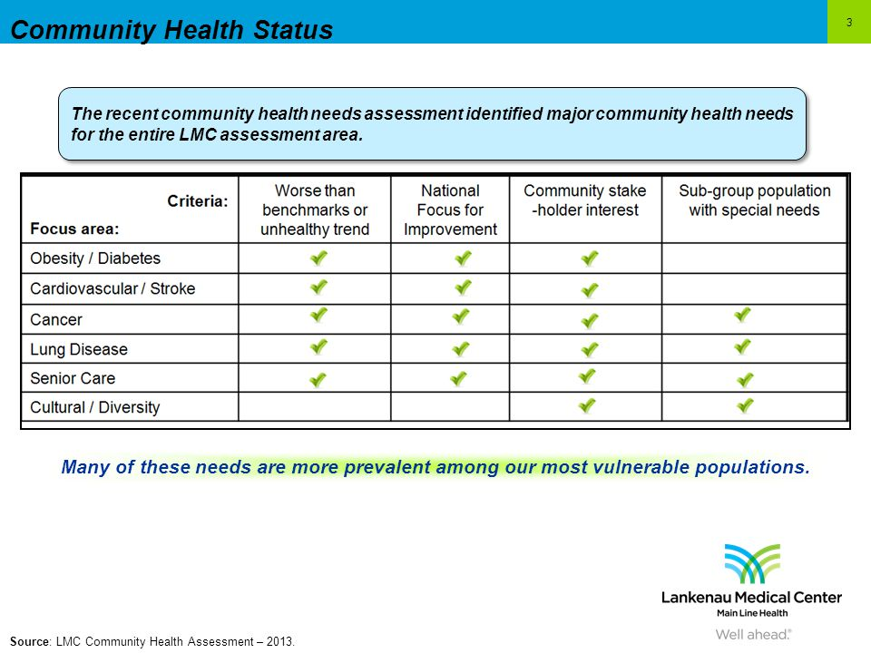3 Community Health Status The recent community health needs assessment identified major community health needs for the entire LMC assessment area.