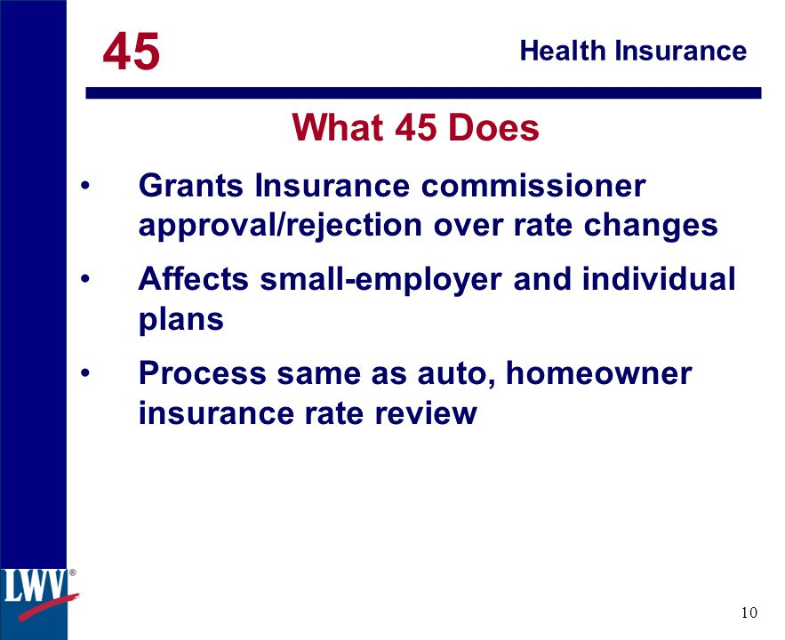 click 10 Health Insurance What 45 Does Grants Insurance commissioner approval/rejection over rate changes Affects small-employer and individual plans Process same as auto, homeowner insurance rate review 45