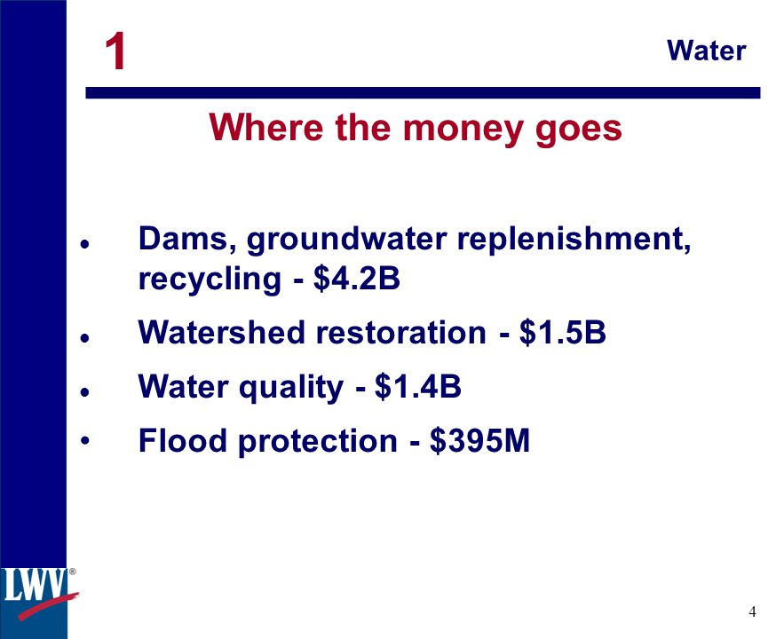 click 4 Water Where the money goes Dams, groundwater replenishment, recycling - $4.2B Watershed restoration - $1.5B Water quality - $1.4B Flood protection - $395M 1