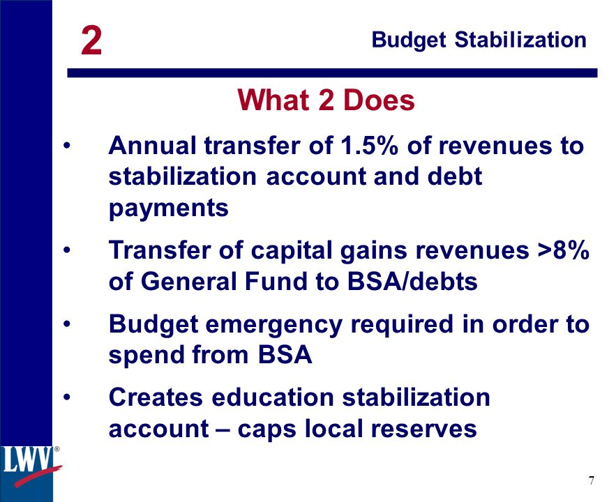 click 8 Budget Stabilization Support: Legislature Governor Brown California Chamber of Commerce Michael Kirst, California State Board of Education Democratic Party LWV California California Forward Total for (with Prop1)$2.1M Opposition: Educate Our State 2
