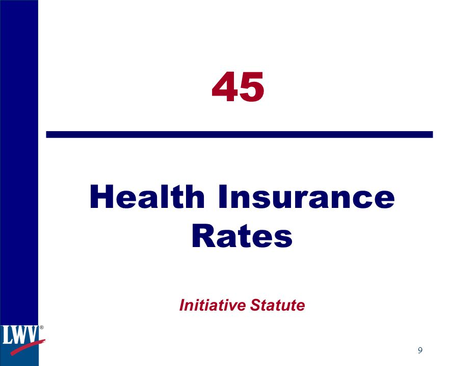 9 45 Health Insurance Rates Initiative Statute