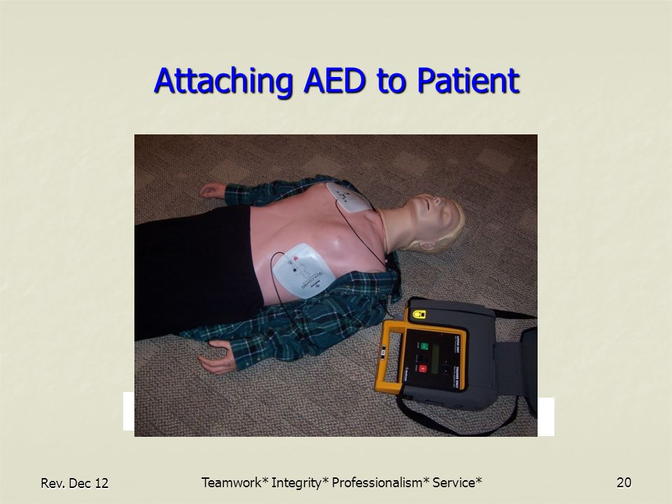 Rev. Dec 1220 Attaching AED to Patient Teamwork* Integrity* Professionalism* Service*