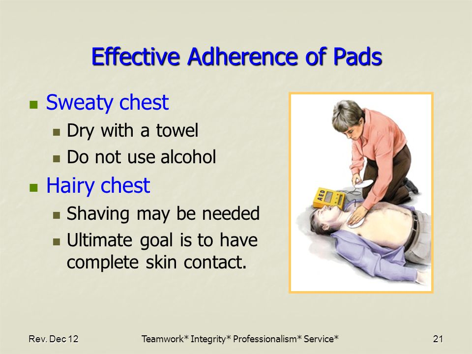 Rev. Dec 12 21 Effective Adherence of Pads Sweaty chest Dry with a towel Do not use alcohol Hairy chest Shaving may be needed Ultimate goal is to have
