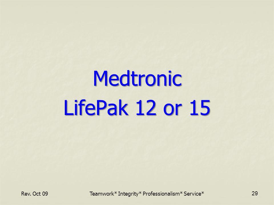 Medtronic LifePak 12 or 15 Rev. Oct 09Teamwork* Integrity* Professionalism* Service* 29