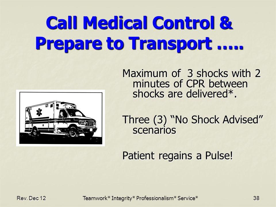 Rev.Dec 1238 Call Medical Control & Prepare to Transport …..
