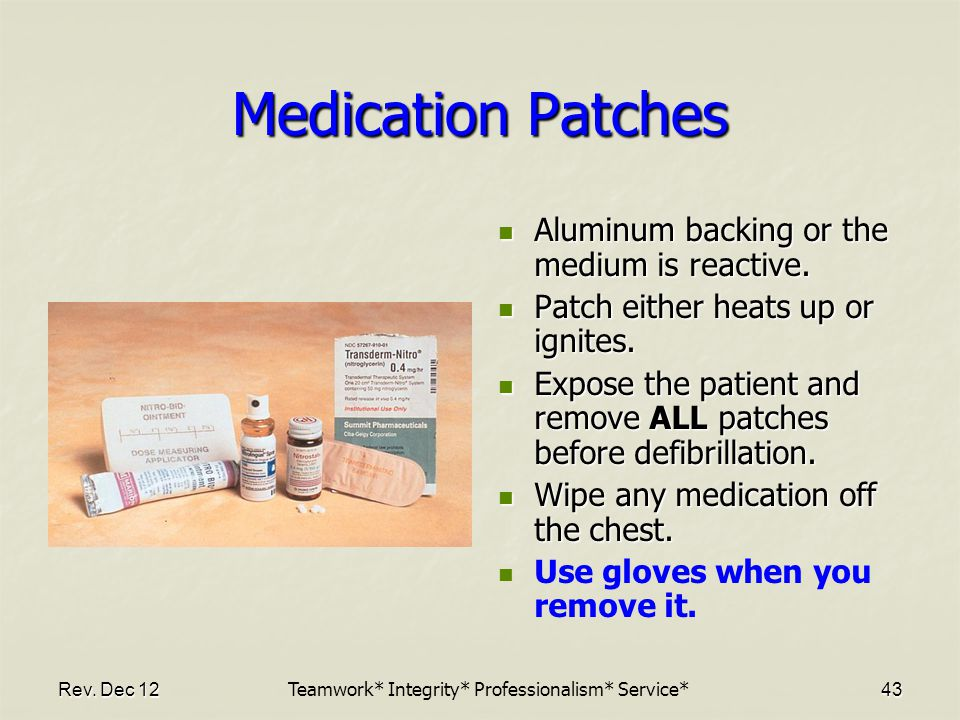 Rev.Dec 1243 Medication Patches Aluminum backing or the medium is reactive.