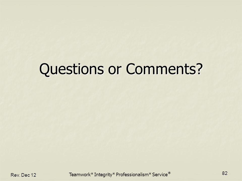 Rev. Dec 12 82 Questions or Comments? Teamwork* Integrity* Professionalism* Service *