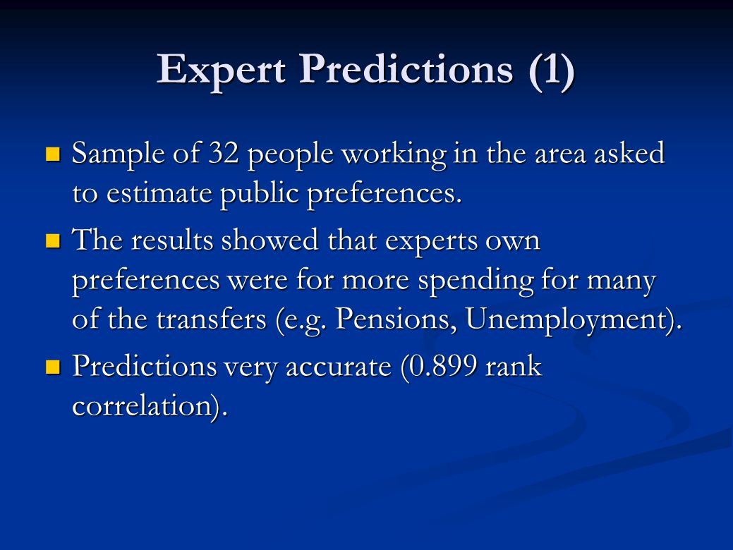 Expert Predictions (1) Sample of 32 people working in the area asked to estimate public preferences. Sample of 32 people working in the area asked to