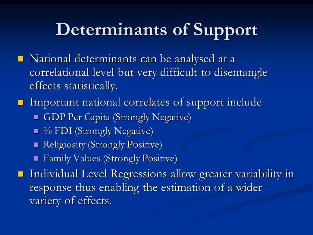 Determinants of Support National determinants can be analysed at a correlational level but very difficult to disentangle effects statistically. Nation