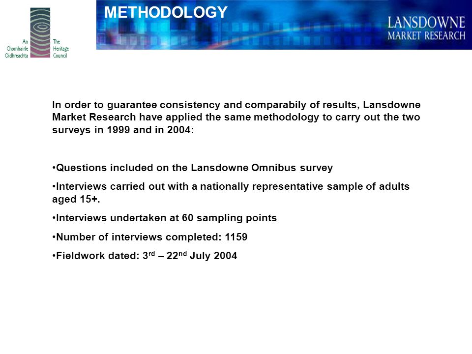 In order to guarantee consistency and comparabily of results, Lansdowne Market Research have applied the same methodology to carry out the two surveys in 1999 and in 2004: Questions included on the Lansdowne Omnibus survey Interviews carried out with a nationally representative sample of adults aged 15+.