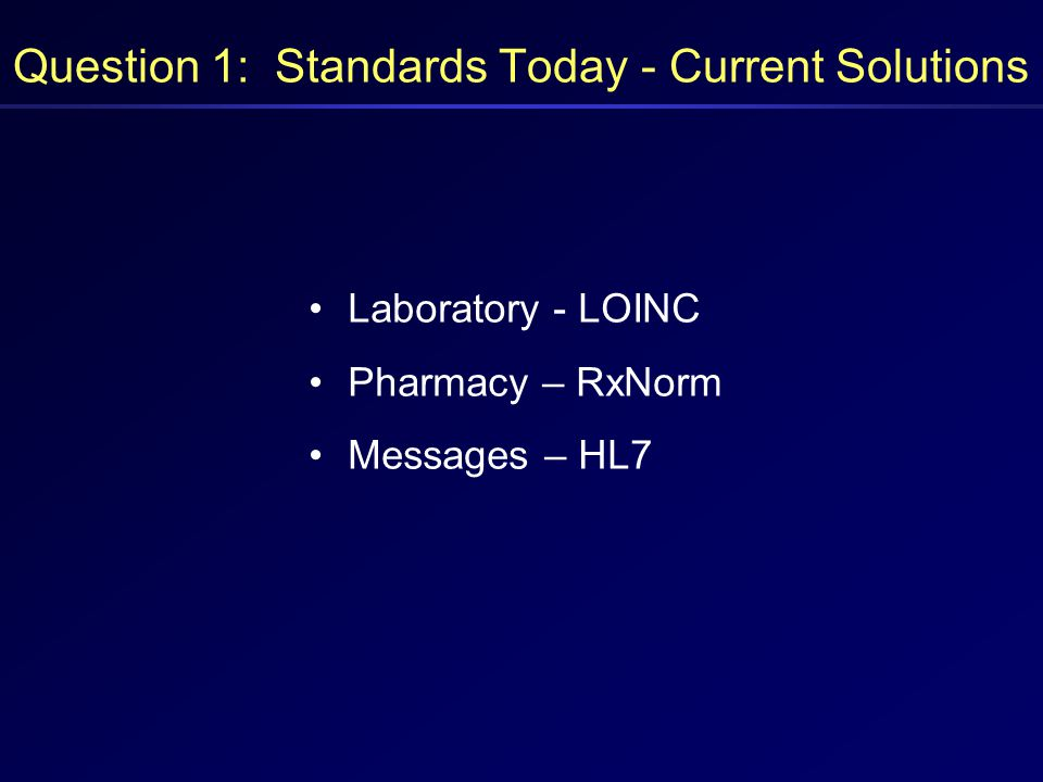 Question 1: Standards Today - Current Solutions Laboratory - LOINC Pharmacy – RxNorm Messages – HL7