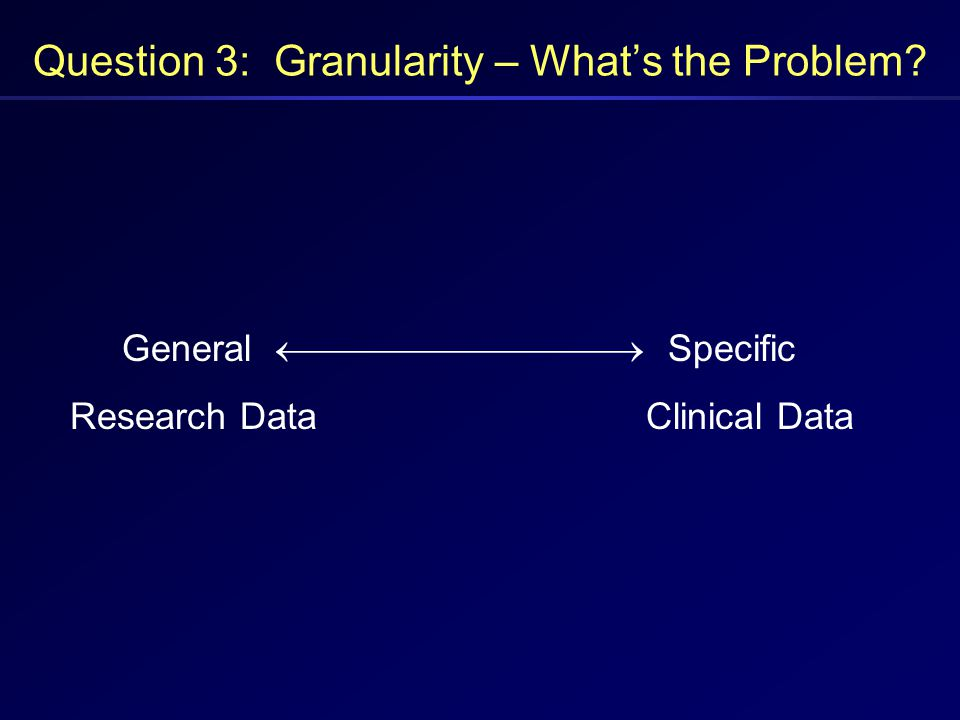 Question 3: Granularity – What's the Problem? General  Specific Research DataClinical Data