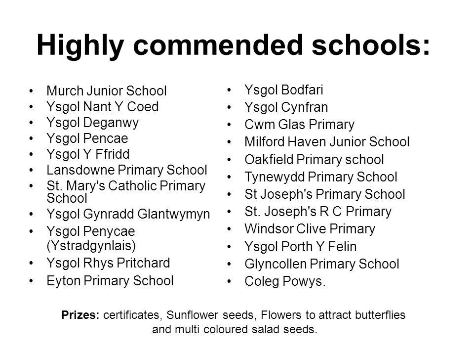 Highly commended schools: Murch Junior School Ysgol Nant Y Coed Ysgol Deganwy Ysgol Pencae Ysgol Y Ffridd Lansdowne Primary School St.