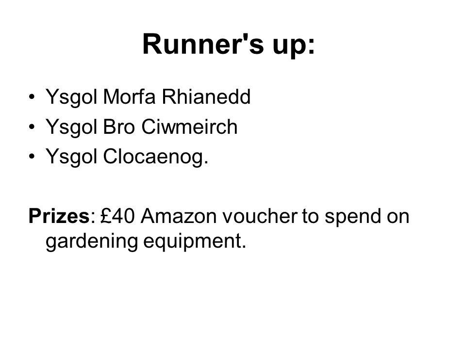 Runner s up: Ysgol Morfa Rhianedd Ysgol Bro Ciwmeirch Ysgol Clocaenog.
