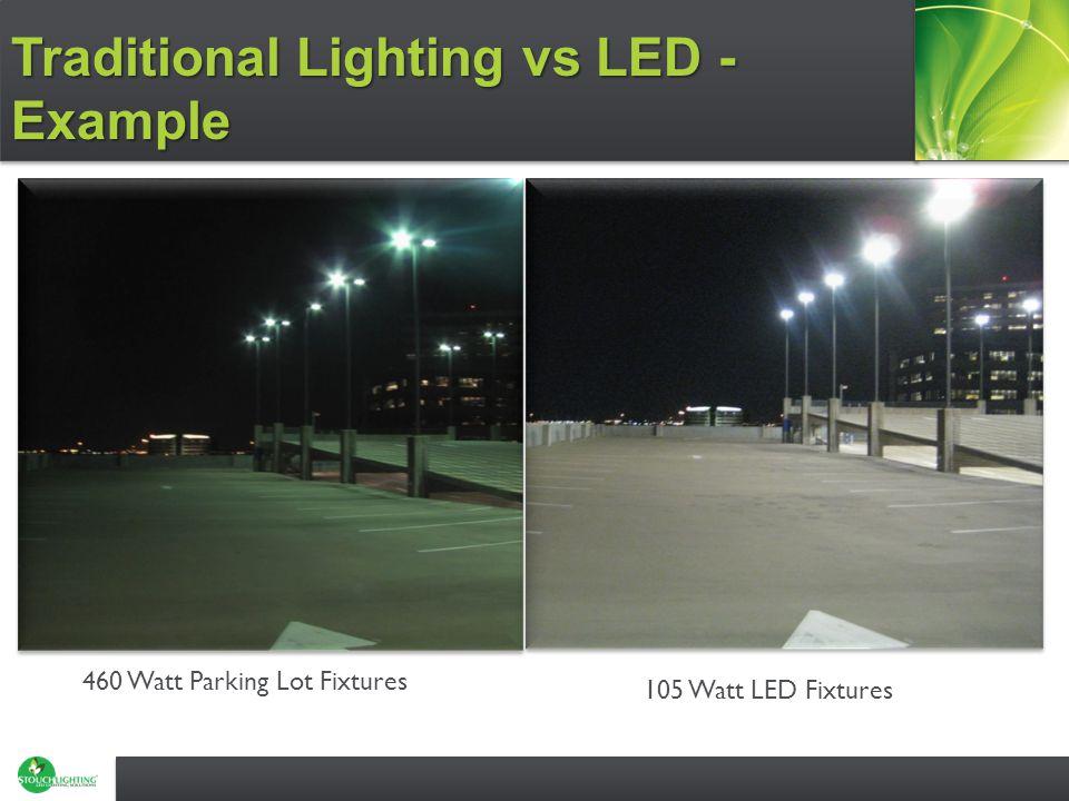 460 Watt Parking Lot Fixtures 105 Watt LED Fixtures Traditional Lighting vs LED - Example