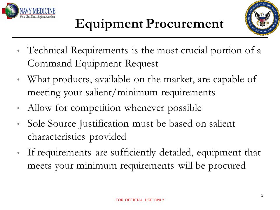 Technical Requirements is the most crucial portion of a Command Equipment Request What products, available on the market, are capable of meeting your