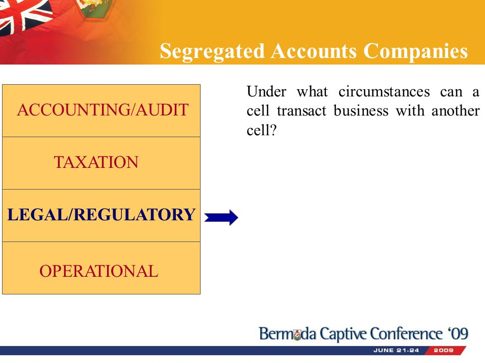 Segregated Accounts Companies ACCOUNTING/AUDIT TAXATION LEGAL/REGULATORY OPERATIONAL Under what circumstances can a cell transact business with anothe
