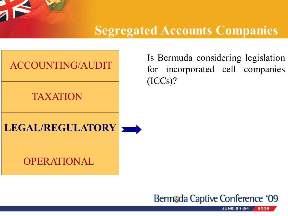 Segregated Accounts Companies ACCOUNTING/AUDIT TAXATION LEGAL/REGULATORY OPERATIONAL Is Bermuda considering legislation for incorporated cell companie