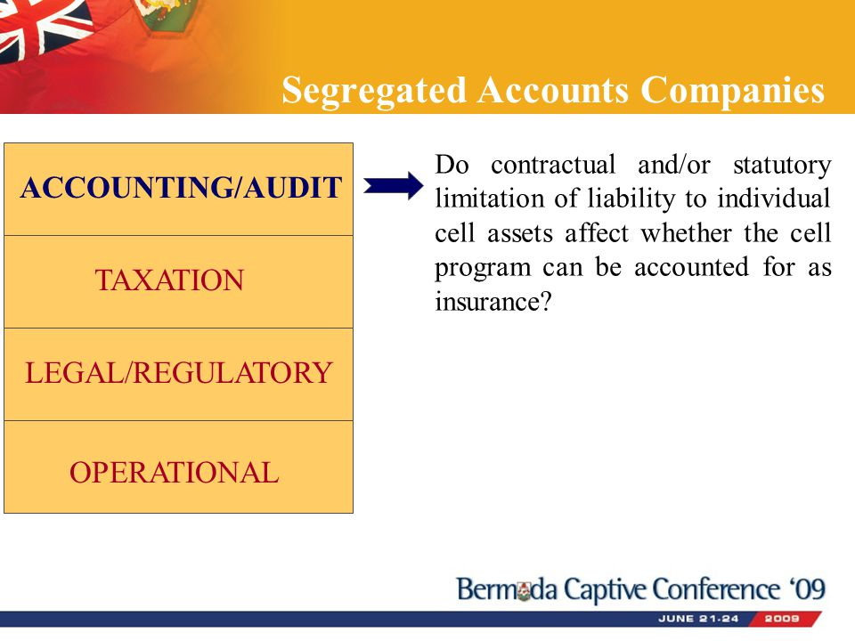 Segregated Accounts Companies ACCOUNTING/AUDIT TAXATION LEGAL/REGULATORY OPERATIONAL Do contractual and/or statutory limitation of liability to indivi