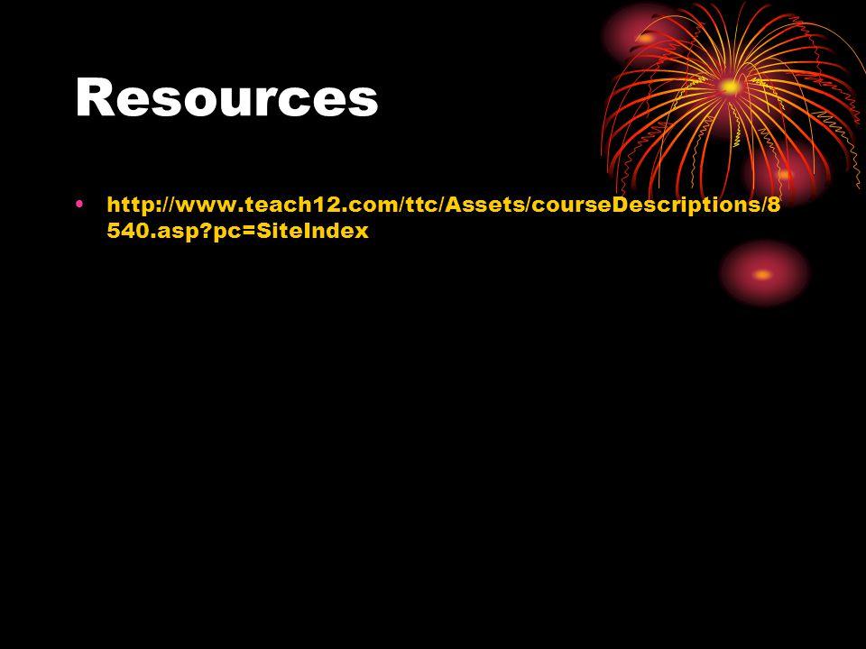 Resources http://www.teach12.com/ttc/Assets/courseDescriptions/8 540.asp?pc=SiteIndex