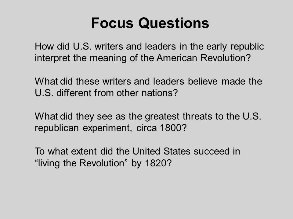 Focus Questions How did U.S.
