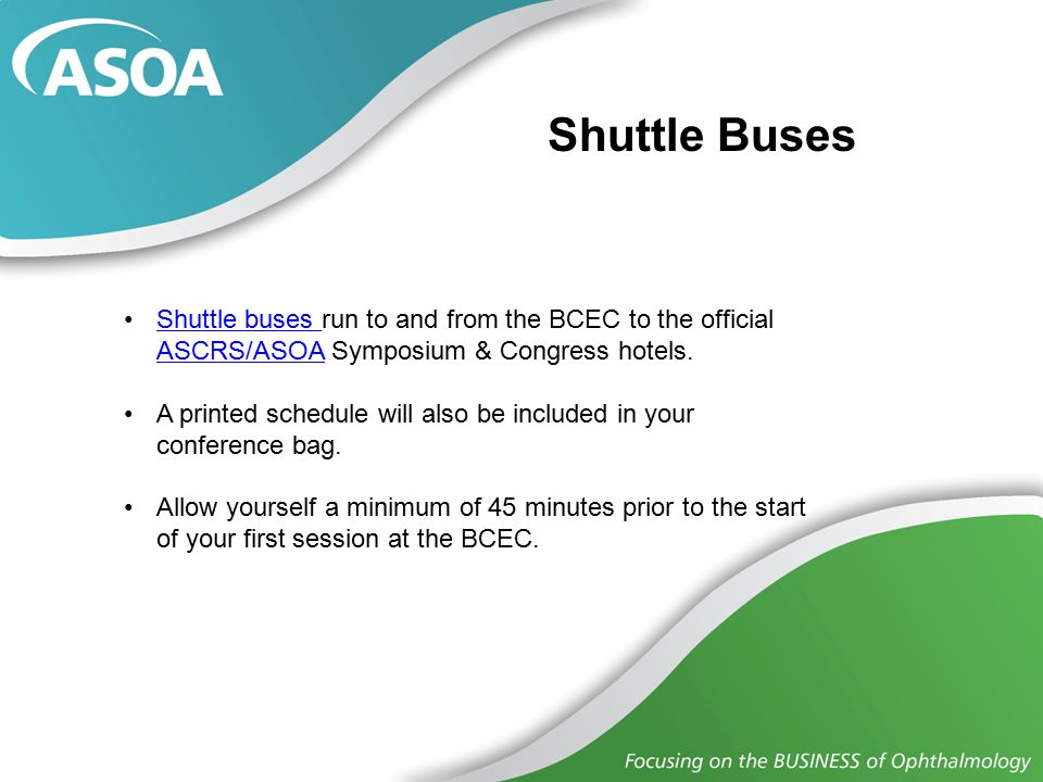 Navigating the Congress ASOA Programming will be held in the BCEC, primarily on Level 1.