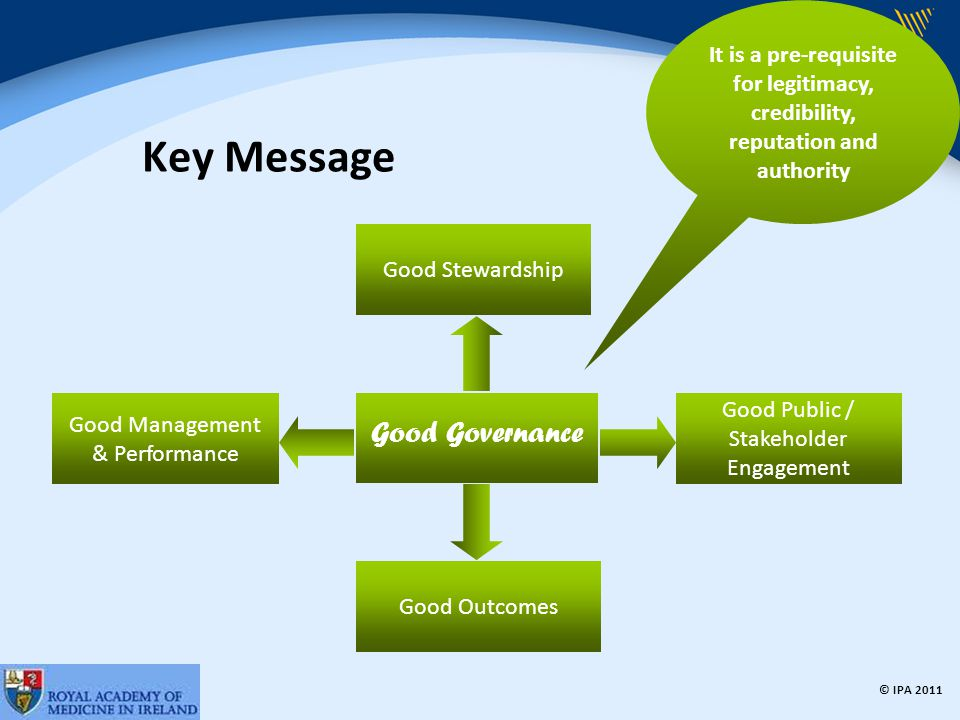 © IPA 2011 Good Governance Standard Informed, transparent decisions and managing risk Organisation's purpose and on outcomes Performing effectively in clearly defined functions and roles Promoting values… behaviour Capacity and capability of the governing body Engaging stakeholders and making accountability real 1 2 3 4 5 6 6 Core Principles