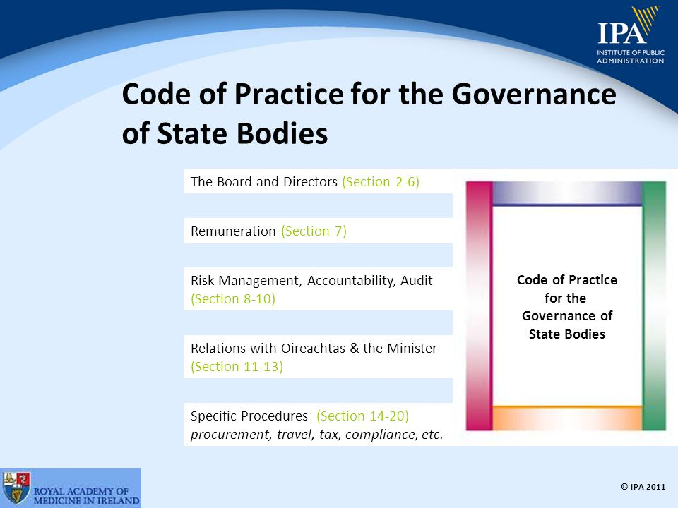 © IPA 2011 Code of Practice for the Governance of State Bodies The Board and Directors (Section 2-6) Remuneration (Section 7) Risk Management, Accountability, Audit (Section 8-10) Relations with Oireachtas & the Minister (Section 11-13) Specific Procedures (Section 14-20) procurement, travel, tax, compliance, etc.