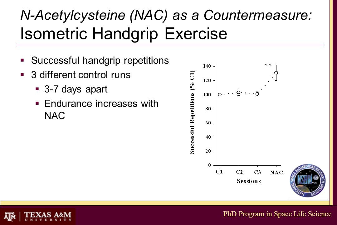 PhD Program in Space Life Science N-Acetylcysteine (NAC) as a Countermeasure: Isometric Handgrip Exercise  Successful handgrip repetitions  3 different control runs  3-7 days apart  Endurance increases with NAC