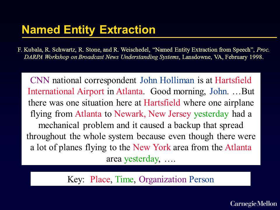 Named Entity Extraction CNN national correspondent John Holliman is at Hartsfield International Airport in Atlanta.