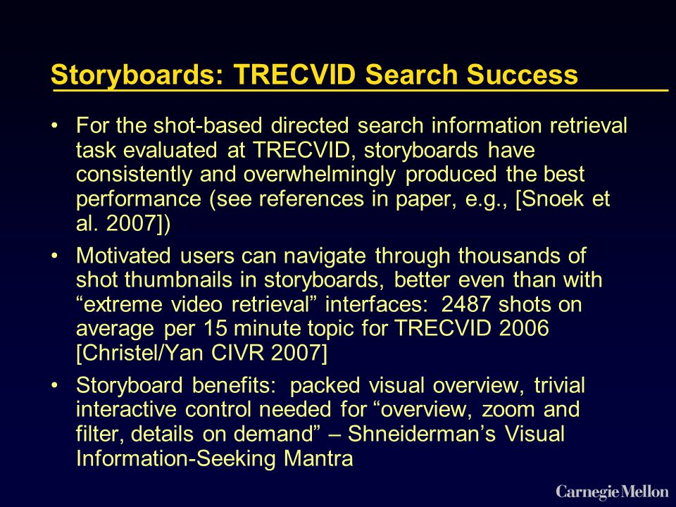 Storyboards: TRECVID Search Success For the shot-based directed search information retrieval task evaluated at TRECVID, storyboards have consistently and overwhelmingly produced the best performance (see references in paper, e.g., [Snoek et al.