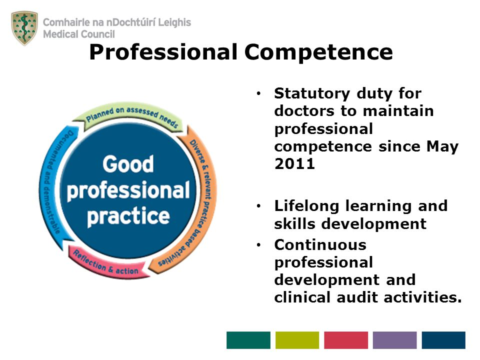 Statutory duty for doctors to maintain professional competence since May 2011 Lifelong learning and skills development Continuous professional development and clinical audit activities.