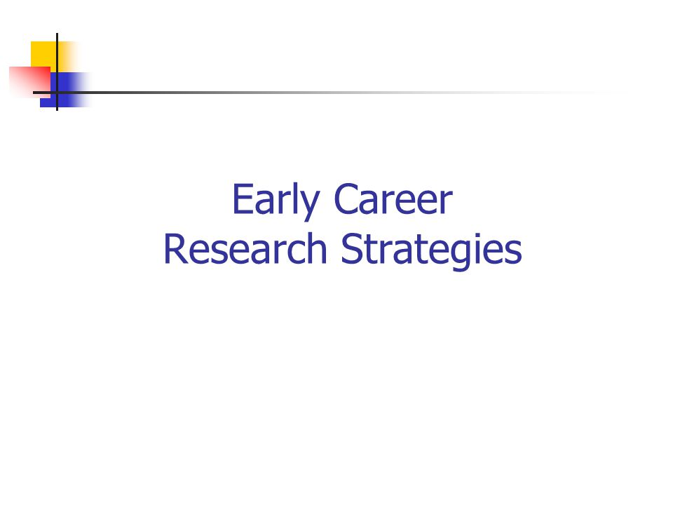 Early Career Research Strategies