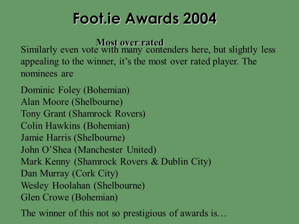 Foot.ie Awards 2004 Similarly even vote with many contenders here, but slightly less appealing to the winner, it's the most over rated player. The nom