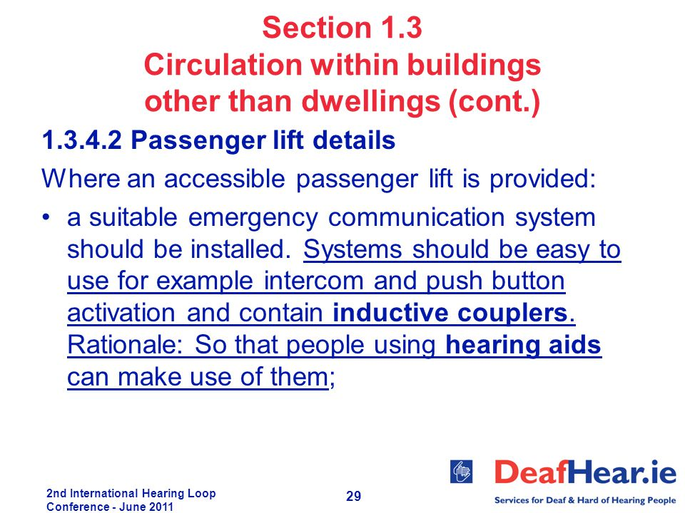 2nd International Hearing Loop Conference - June 2011 29 Section 1.3 Circulation within buildings other than dwellings (cont.) 1.3.4.2 Passenger lift