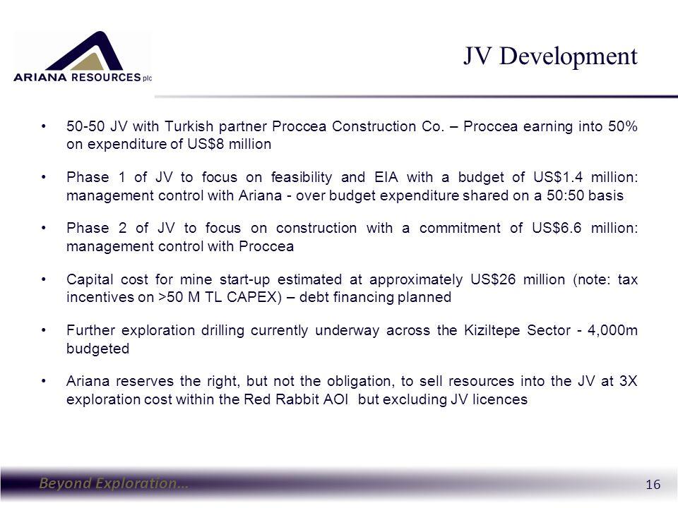 Beyond Exploration… 16 JV Development 50-50 JV with Turkish partner Proccea Construction Co.