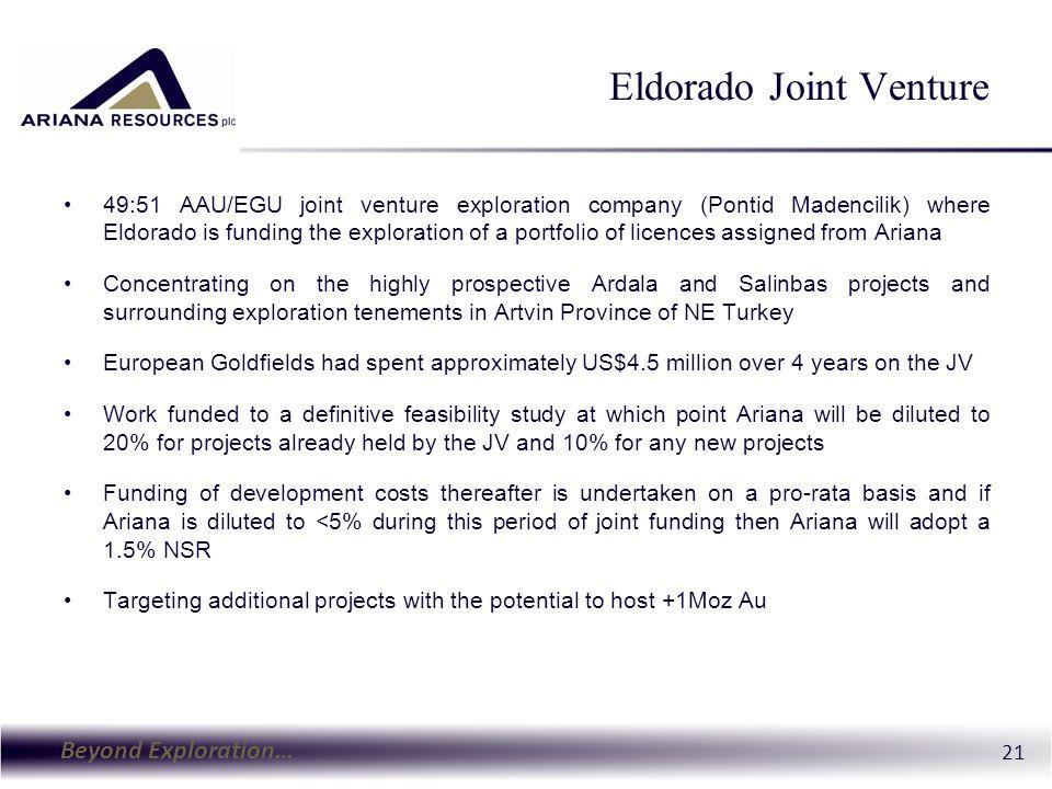 Beyond Exploration… 21 Eldorado Joint Venture 49:51 AAU/EGU joint venture exploration company (Pontid Madencilik) where Eldorado is funding the explor