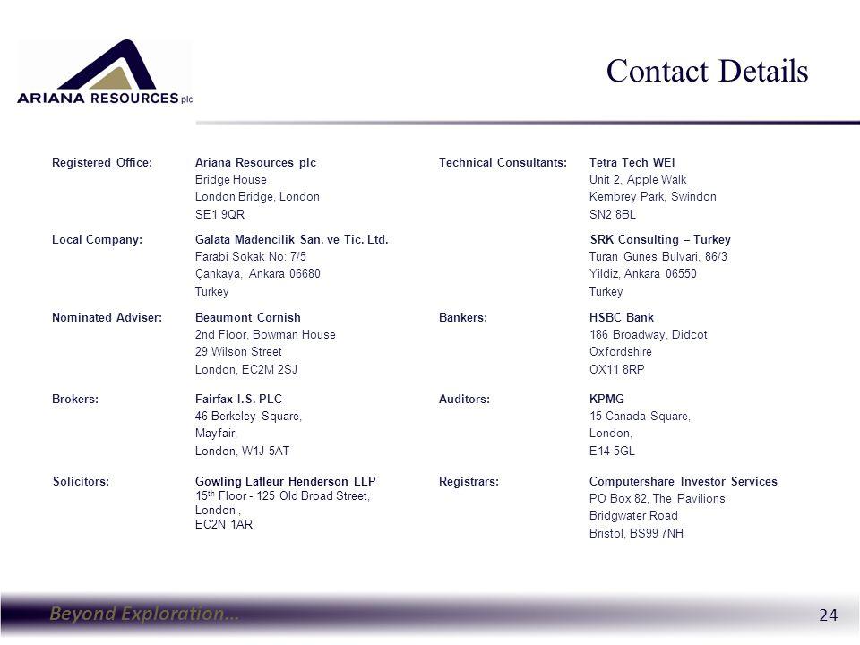 Beyond Exploration… 24 Contact Details Registered Office:Ariana Resources plc Bridge House London Bridge, London SE1 9QR Technical Consultants:Tetra Tech WEI Unit 2, Apple Walk Kembrey Park, Swindon SN2 8BL Local Company:Galata Madencilik San.