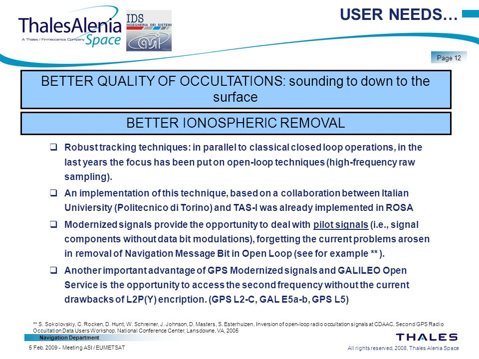 All rights reserved, 2008, Thales Alenia Space Navigation Department Page 12 5 Feb.
